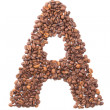 Letter A, alphabet from coffee beans on white background — Stock Photo