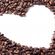 Coffee beans in the shape of a heart — Стоковое фото