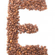 Letter E, alphabet from coffee beans on white background — Stock Photo