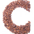 Letter C, alphabet from coffee beans on white background — Stock Photo