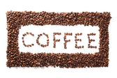 Word coffee in frame, roasted beans over white background — Stock Photo