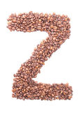 Letter Z, alphabet from coffee beans on white background — Stock Photo