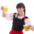 Bavarian girl with cup of beer — Stock Photo
