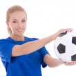 Beautiful woman in blue shirt with soccer ball — Stock Photo