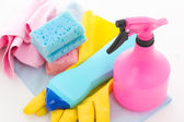 Bottles of dishwashing liquid and kitchen cleaners — Stock Photo