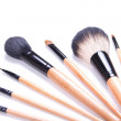 Professional make-up brushes isolated on white — Stock Photo