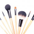 Close up of professional make-up brushes isolated on white — Stock Photo