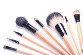 Professional make-up brushes isolated on white — Stock Photo