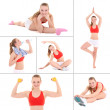 Collage of sporty pictures: young beautiful woman doing fitness — Foto de Stock