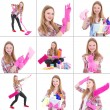 Collage of young beautiful woman doing housework — Stock Photo