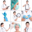 Collage of medical pictures: young beautiful female doctor isola — Stock Photo