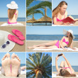 Collage of beautiful summer holiday photos with young woman — Stock Photo