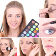 Collage of a beautiful woman applying make up — Stock Photo