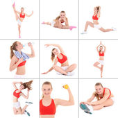 Collage of sporty pictures: young beautiful woman doing fitness — Stock Photo
