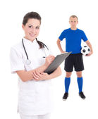 Young female doctor and soccer player in blue on white backgroun — Stock Photo