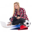 Blondie woman sitting with laptop, folders and soccer ball isola — Stock Photo