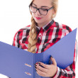 Beautiful girl in eyeglasses with book in her hand isolated on w — Stock Photo