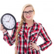 Portrait of beautiful teenage girl in eyeglasses holding clock i — Stock Photo