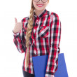 Beautiful girl in eyeglasses with book in her hand thumbs up iso — Stock Photo