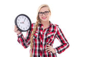 Portrait of beautiful teenage girl in eyeglasses holding clock i — ストック写真