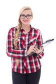 Beautiful schoolgirl in eyeglasses with folder in her hand isola — Stock Photo