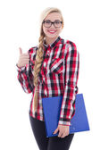 Beautiful girl in eyeglasses with book in her hand thumbs up iso — 图库照片