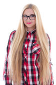 Beautiful girl in eyeglasses with long hair isolated on white — Stock Photo
