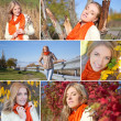 Collage of beautiful girl walking in autumn park — Stock Photo