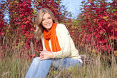 Portrait of young beautiful woman sitting in autumn park — Stock Photo