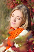 Close up portrait of young beautiful woman dreaming in autumn pa — Stock Photo