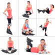 Stock Photo: Collage of young sporty woman on roller skates isolated on white