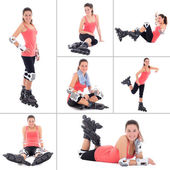 Collage of young sporty woman on roller skates isolated on white — Stock Photo