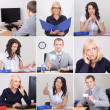 Collage of business people working in office — Stock Photo #34372493