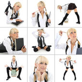 Collage of young woman in school form — Stock Photo
