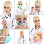 Collage of young female doctor over white — Stockfoto