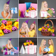 Collage of two young female friends celebrating birthday — Stock Photo