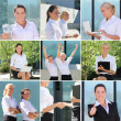 Collage of business women posing - outdoor photos — Stock Photo #34420621