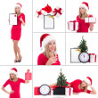 Christmas collage. young beautiful woman with gift boxes, clock  — Stock Photo