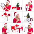 Christmas collage. beautiful woman with gift boxes, clock and ch — Stok fotoğraf