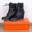New black female leather boots and box — Stock Photo