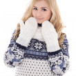 Young beautiful woman posing in winter clothes isolated on white — Stock Photo