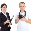 Stock Photo: Female journalist with microphone and operator with camera isola