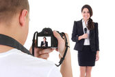 Operator with camera and female reporter with microphone isolate — Stock Photo