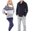 Young attractive man and woman in winter clothes isolated on whi — Stock Photo