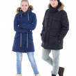 Portrait of young handsome man and woman in black winter jackets — Stock Photo #38655609
