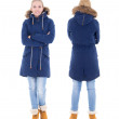 Front and back view of young womin winter clothes isolated on — Stock Photo #38655617