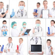 Collage of young doctors at work — Stock Photo