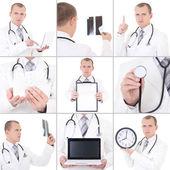 Collage van jonge knappe dokter geïsoleerd op wit — Stockfoto