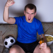 Funny young man watching football on tv and celebrating goal — Stock Photo #41380163