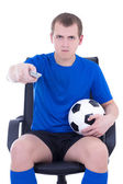 Man with remote control watching football game isolated on white — Stock Photo